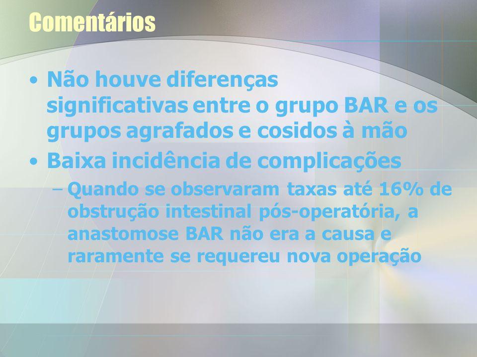Comentários Não houve diferenças significativas entre o grupo BAR e os grupos agrafados e cosidos à mão.