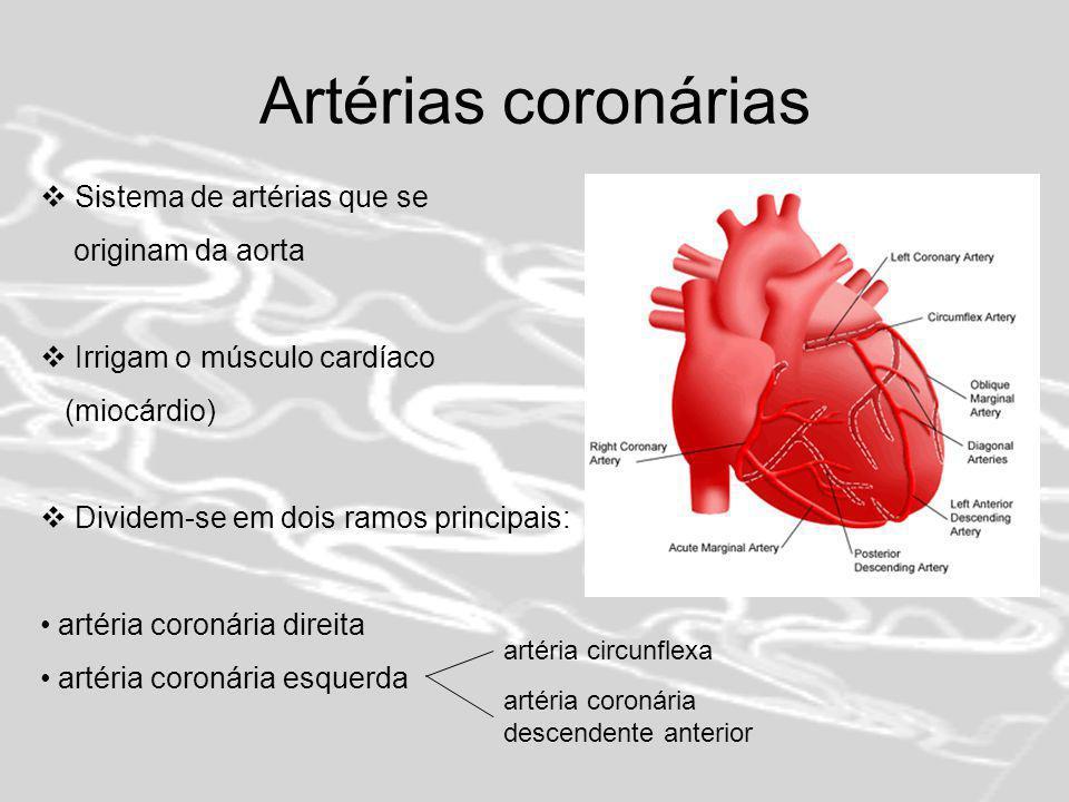 Artérias coronárias Sistema de artérias que se originam da aorta