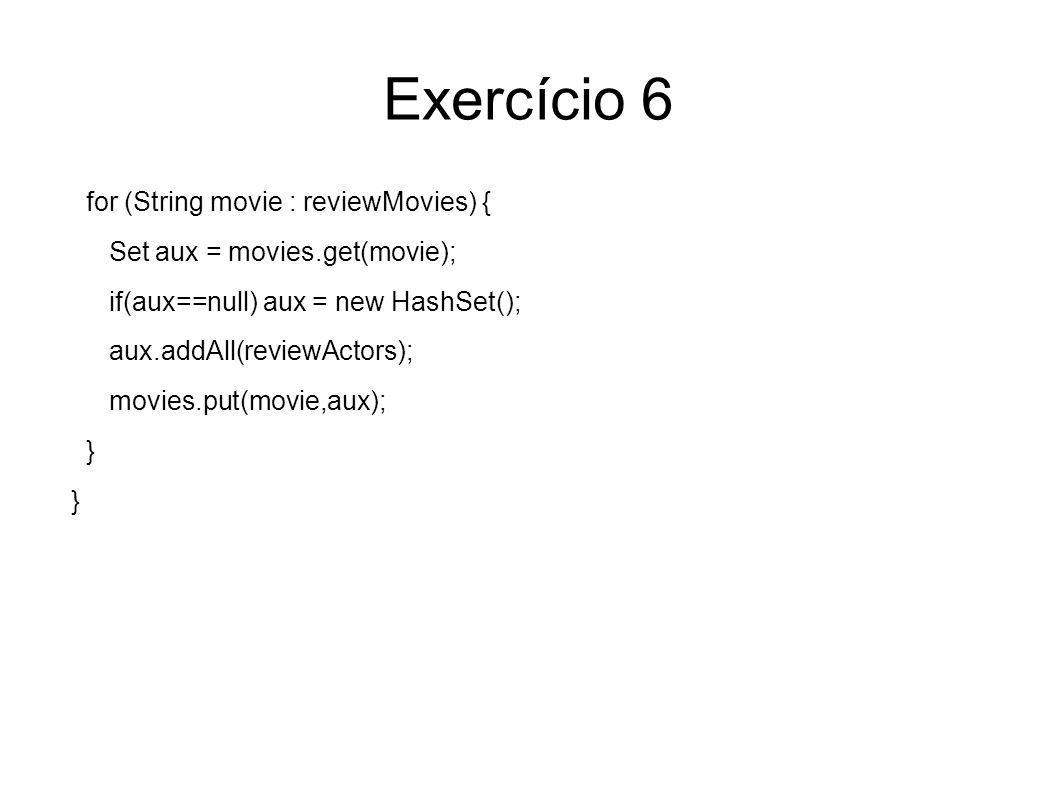 Exercício 6 for (String movie : reviewMovies) {