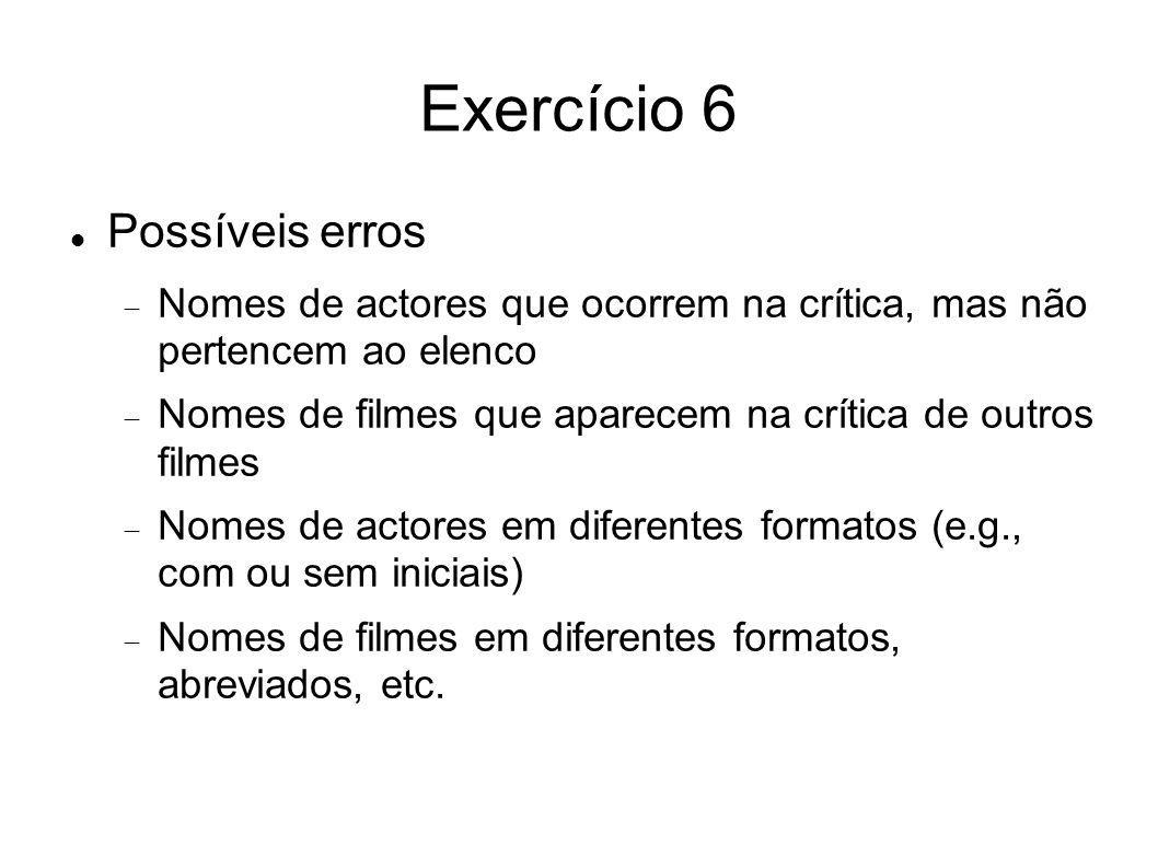 Exercício 6 Possíveis erros