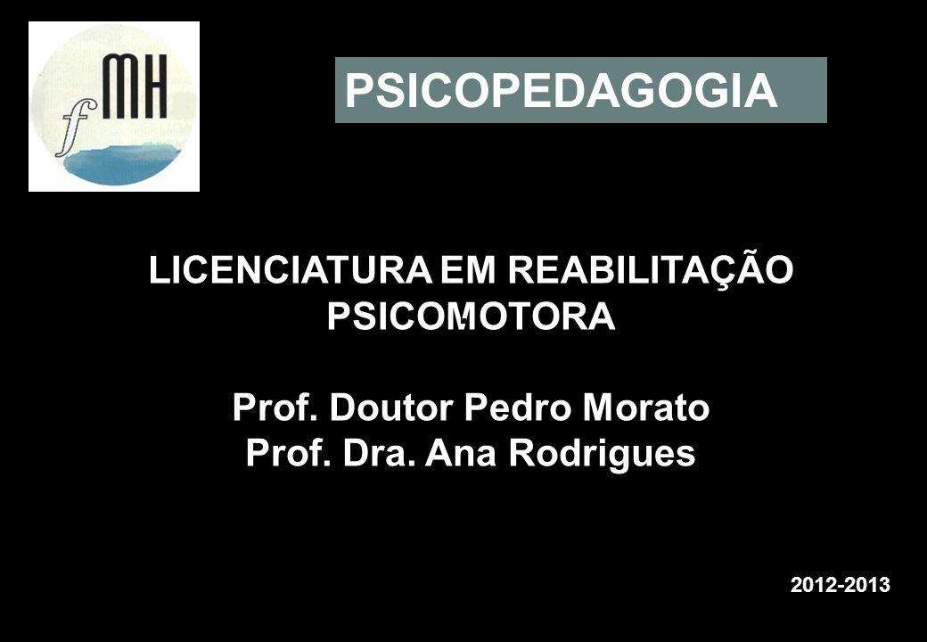 LICENCIATURA EM REABILITAÇÃO PSICOMOTORA Prof. Doutor Pedro Morato