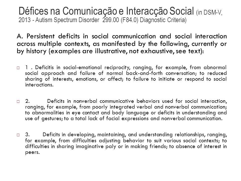 Défices na Comunicação e Interacção Social (in DSM-V, 2013 - Autism Spectrum Disorder 299.00 (F84.0) Diagnostic Criteria)
