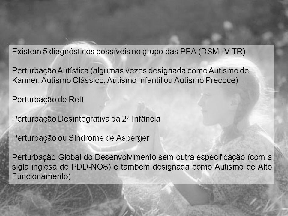 Existem 5 diagnósticos possíveis no grupo das PEA (DSM-IV-TR)