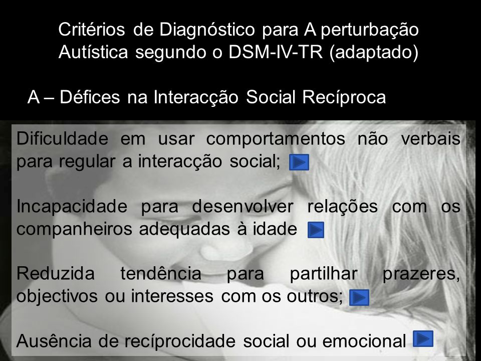 Critérios de Diagnóstico para A perturbação Autística segundo o DSM-IV-TR (adaptado)