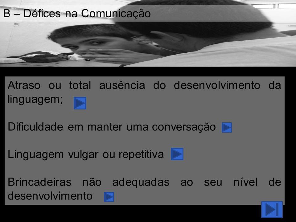 B – Défices na Comunicação