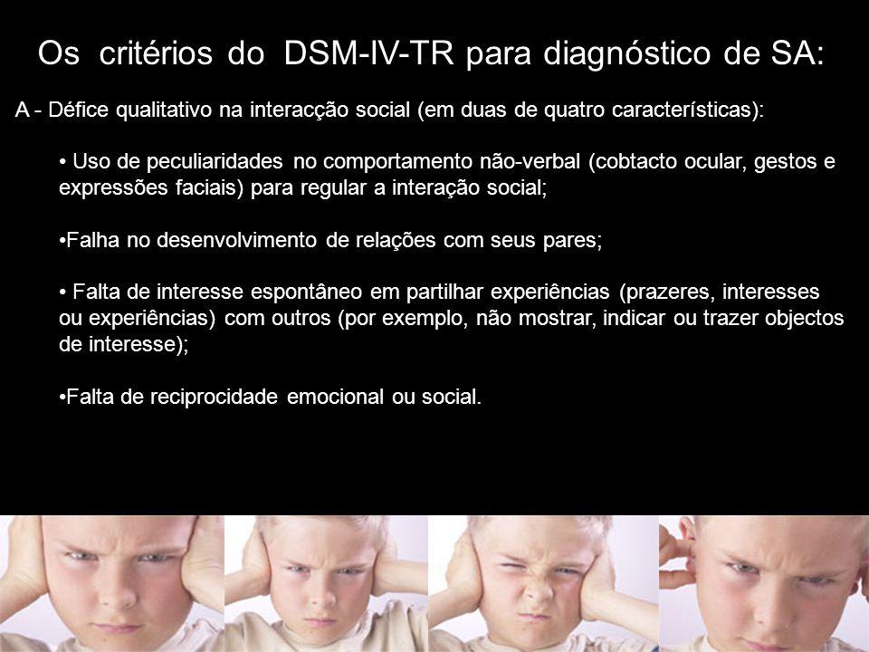 Os critérios do DSM-IV-TR para diagnóstico de SA: