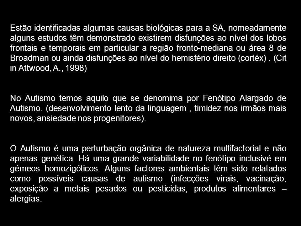 Estão identificadas algumas causas biológicas para a SA, nomeadamente alguns estudos têm demonstrado existirem disfunções ao nível dos lobos frontais e temporais em particular a região fronto-mediana ou área 8 de Broadman ou ainda disfunções ao nível do hemisfério direito (cortéx) . (Cit in Attwood, A., 1998)