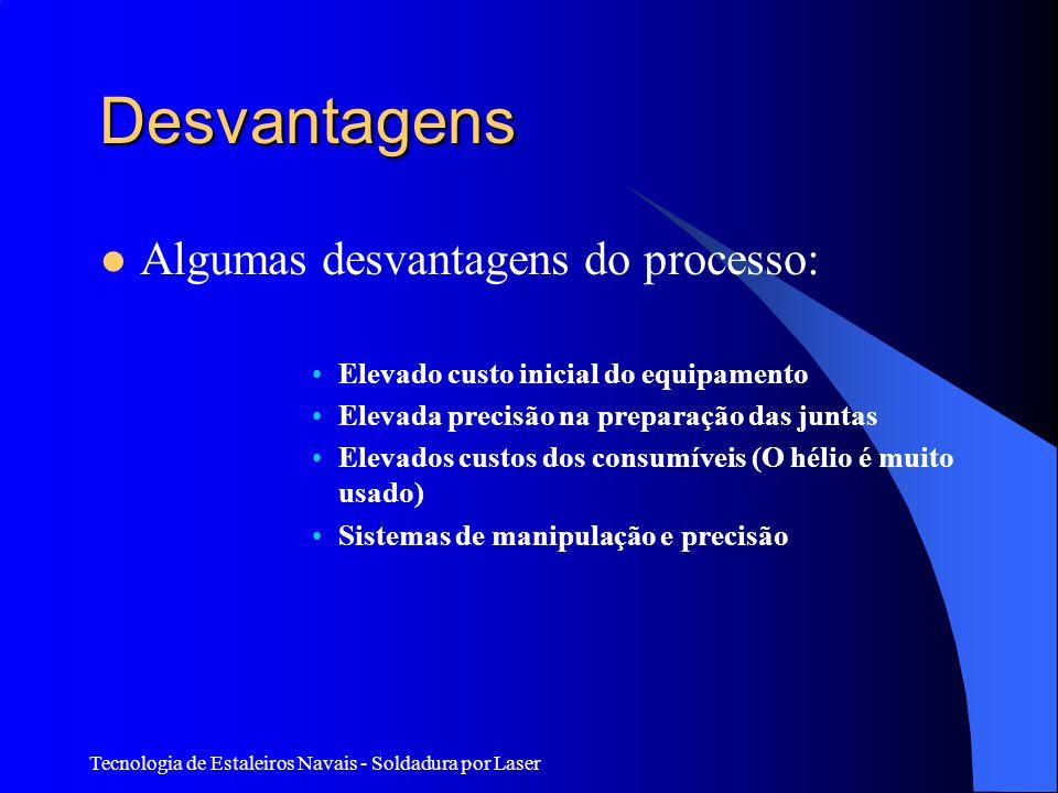 Desvantagens Algumas desvantagens do processo: