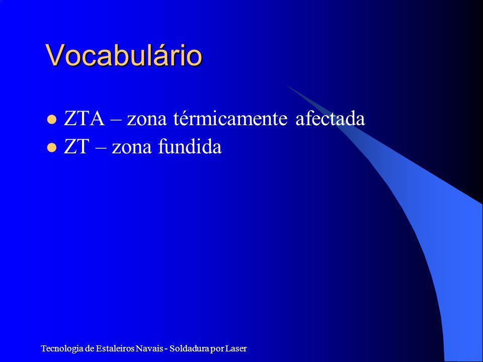 Vocabulário ZTA – zona térmicamente afectada ZT – zona fundida