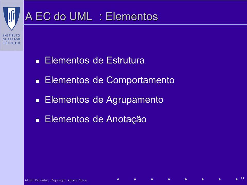 A EC do UML : Elementos Elementos de Estrutura