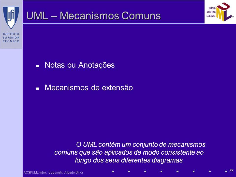 UML – Mecanismos Comuns