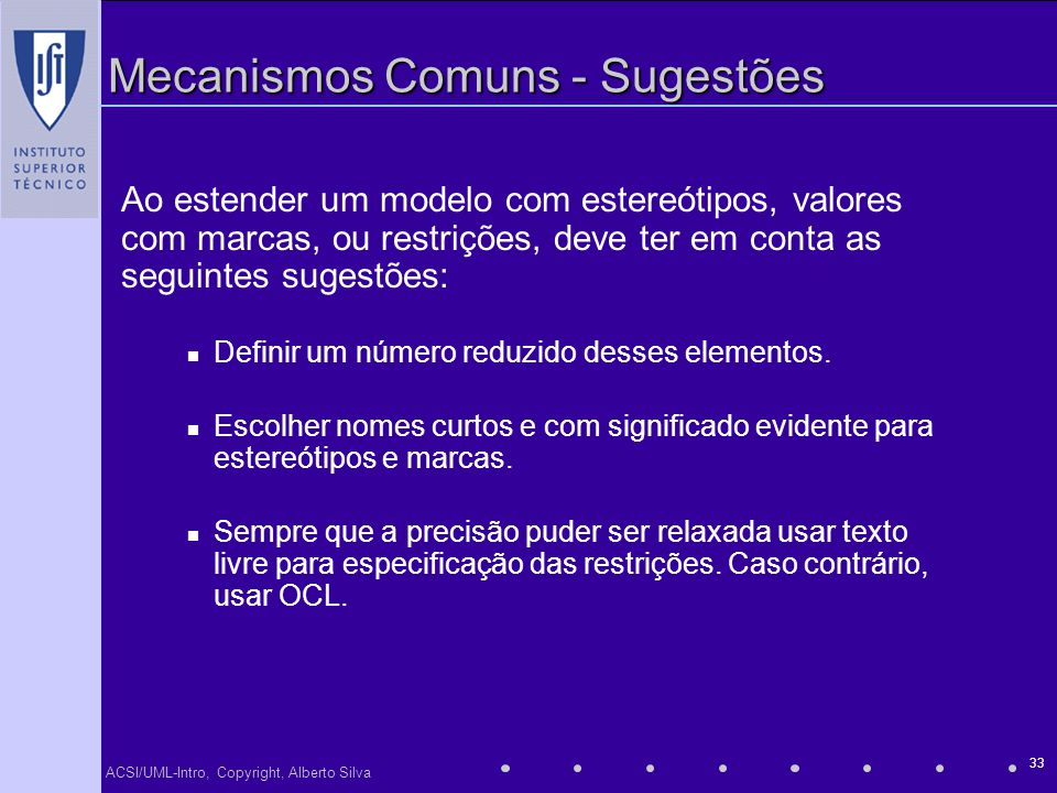 Mecanismos Comuns - Sugestões