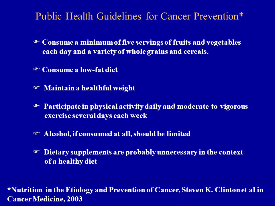 Public Health Guidelines for Cancer Prevention*