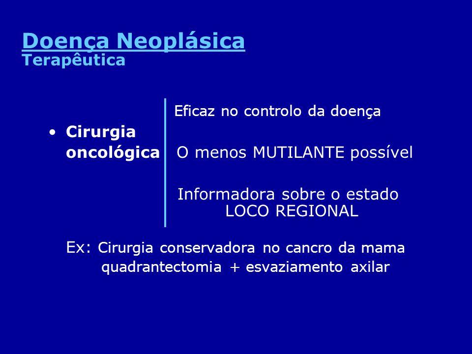 Doença Neoplásica Terapêutica Eficaz no controlo da doença Cirurgia