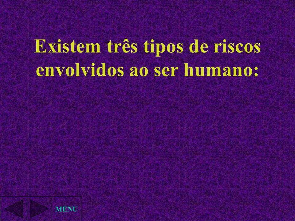Existem três tipos de riscos envolvidos ao ser humano: