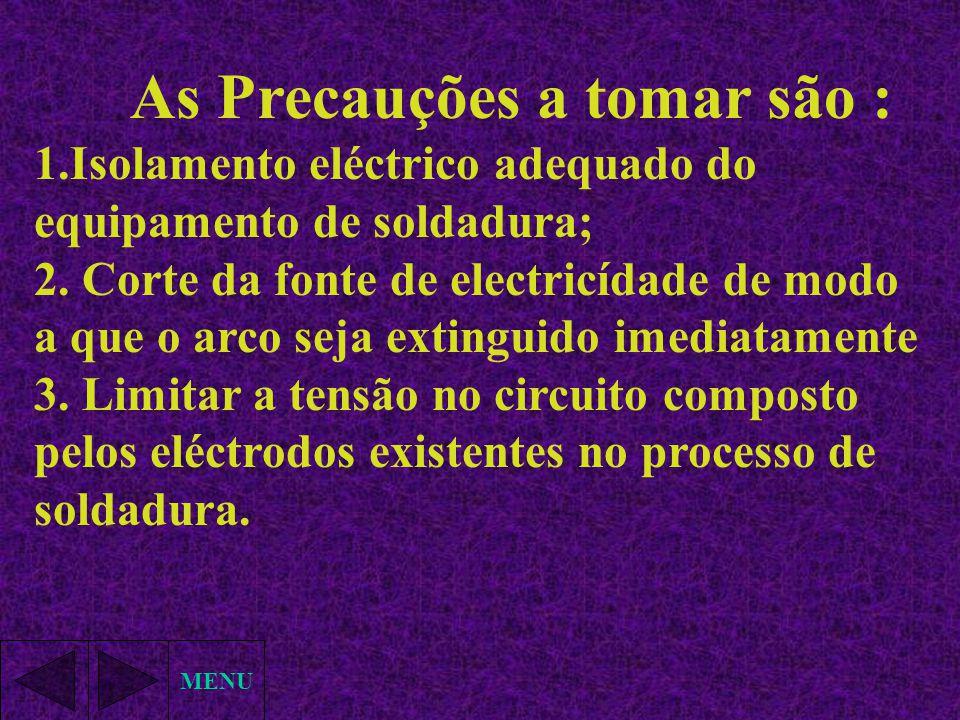 1.Isolamento eléctrico adequado do equipamento de soldadura;