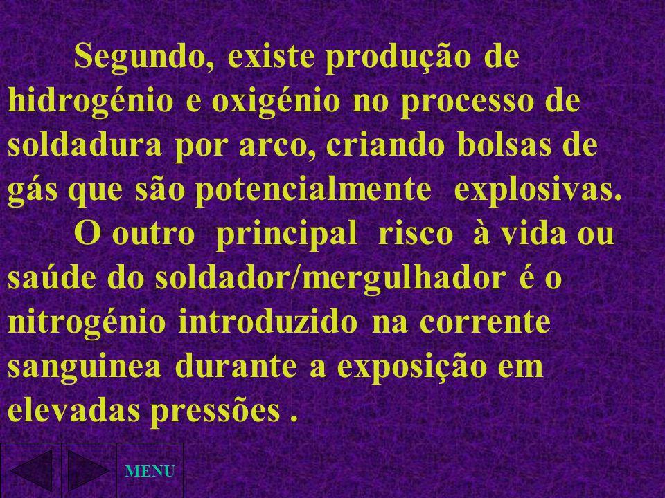 Segundo, existe produção de hidrogénio e oxigénio no processo de soldadura por arco, criando bolsas de gás que são potencialmente explosivas.