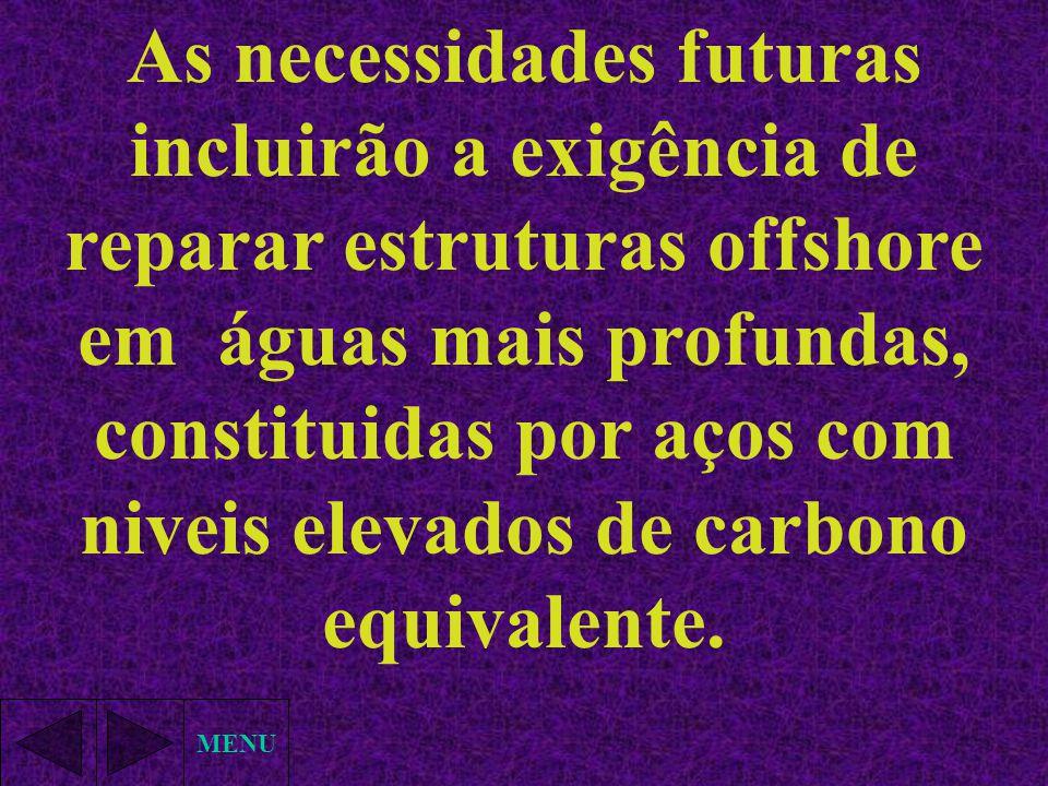 As necessidades futuras incluirão a exigência de reparar estruturas offshore em águas mais profundas, constituidas por aços com niveis elevados de carbono equivalente.