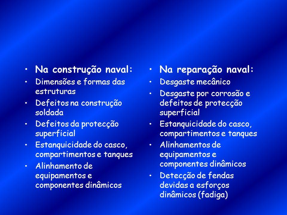Na construção naval: Na reparação naval: