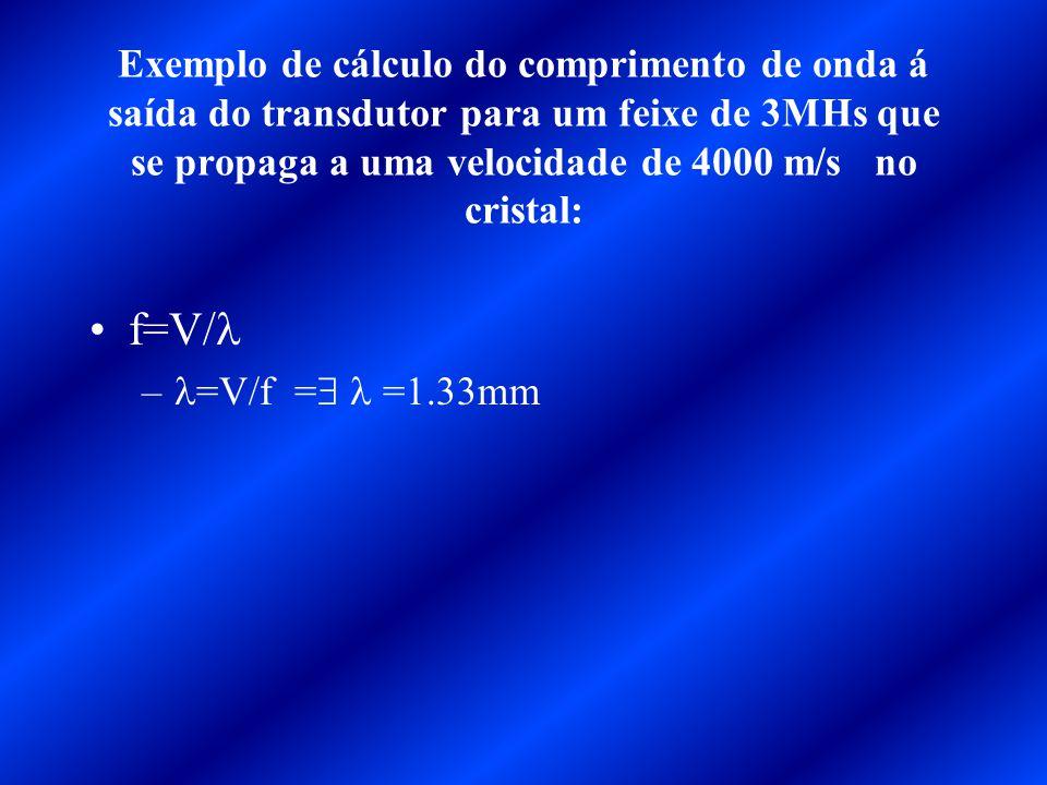 Exemplo de cálculo do comprimento de onda á saída do transdutor para um feixe de 3MHs que se propaga a uma velocidade de 4000 m/s no cristal: