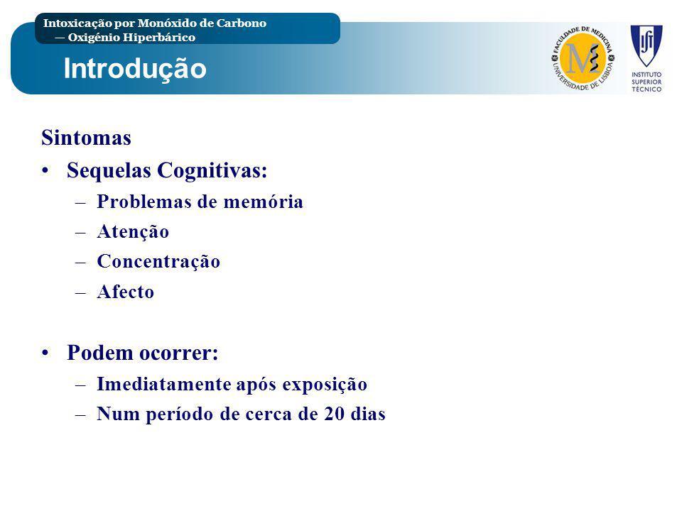 Introdução Sintomas Sequelas Cognitivas: Podem ocorrer:
