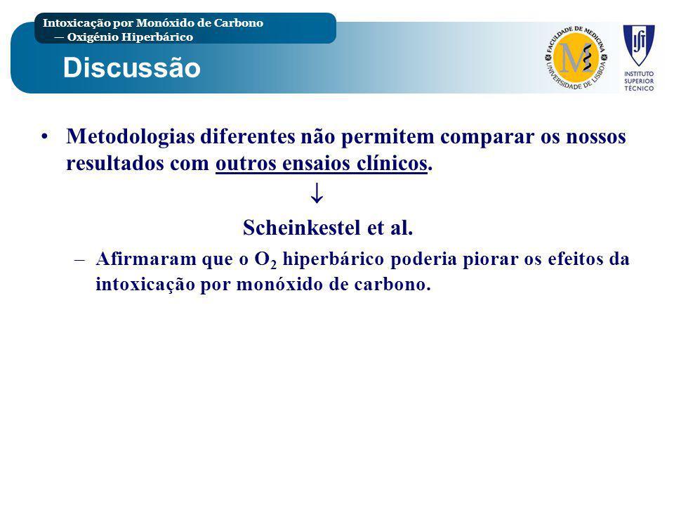 Discussão Metodologias diferentes não permitem comparar os nossos resultados com outros ensaios clínicos.