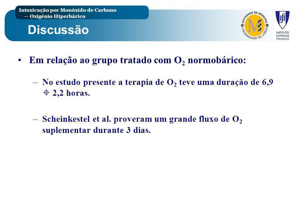 Discussão Em relação ao grupo tratado com O2 normobárico: