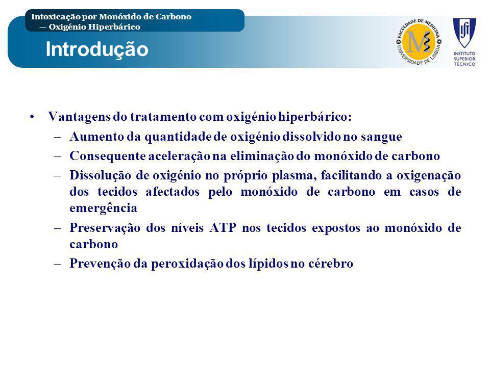 Introdução Vantagens do tratamento com oxigénio hiperbárico: