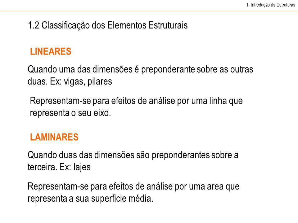 1.2 Classificação dos Elementos Estruturais