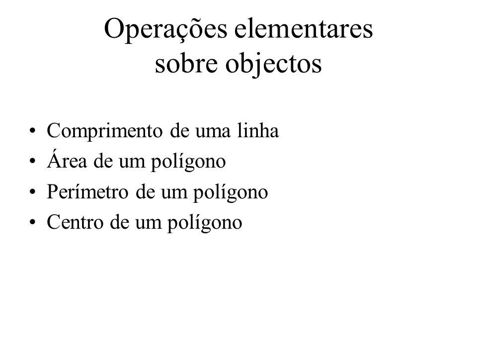 Operações elementares sobre objectos