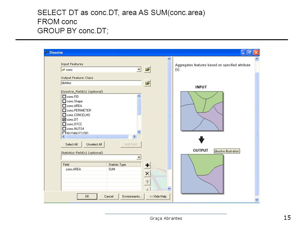 SELECT DT as conc.DT, area AS SUM(conc.area) FROM conc