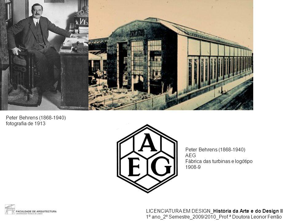 Peter Behrens (1868-1940) fotografia de 1913. Peter Behrens (1868-1940) AEG. Fábrica das turbinas e logótipo.