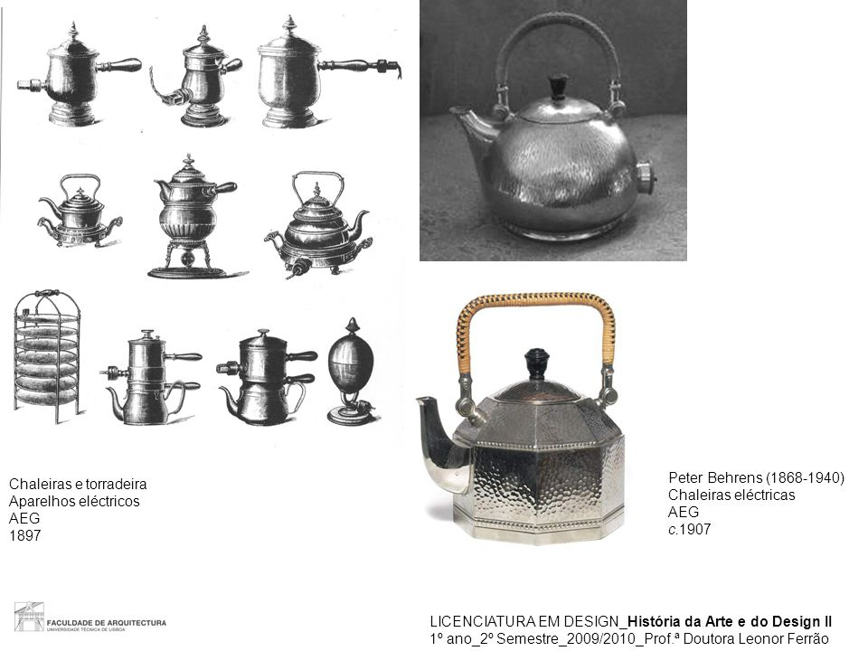 Peter Behrens (1868-1940) Chaleiras eléctricas. AEG. c.1907. Chaleiras e torradeira. Aparelhos eléctricos.