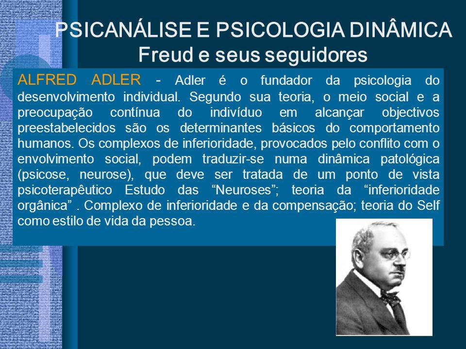 PSICANÁLISE E PSICOLOGIA DINÂMICA Freud e seus seguidores