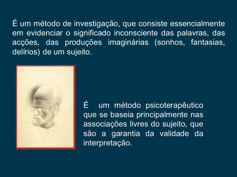 É um método de investigação, que consiste essencialmente em evidenciar o significado inconsciente das palavras, das acções, das produções imaginárias (sonhos, fantasias, delírios) de um sujeito.