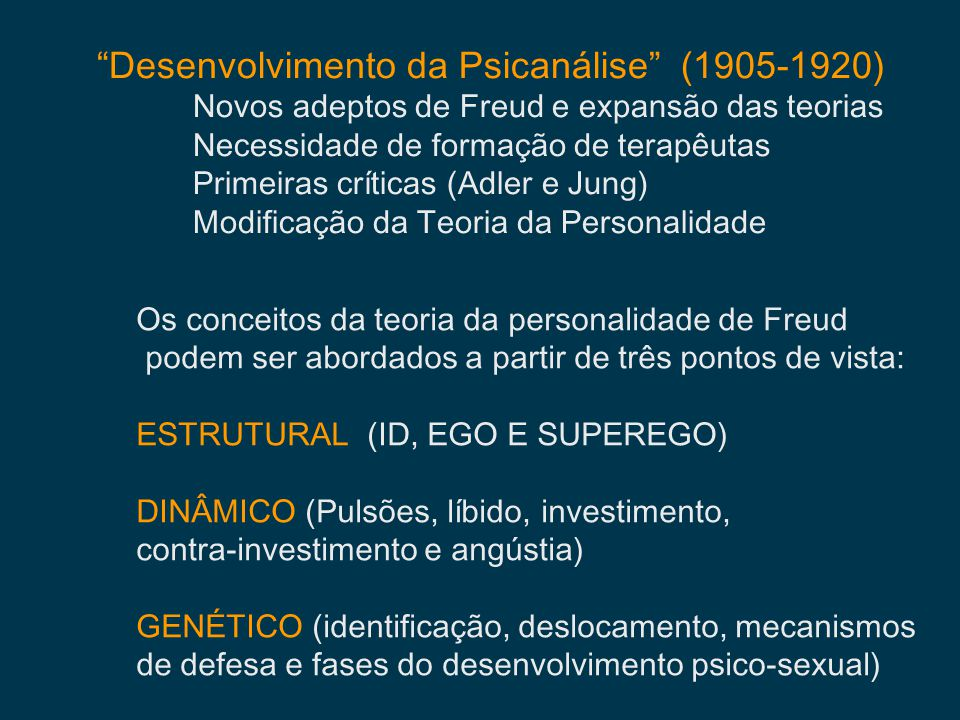 Desenvolvimento da Psicanálise (1905-1920)