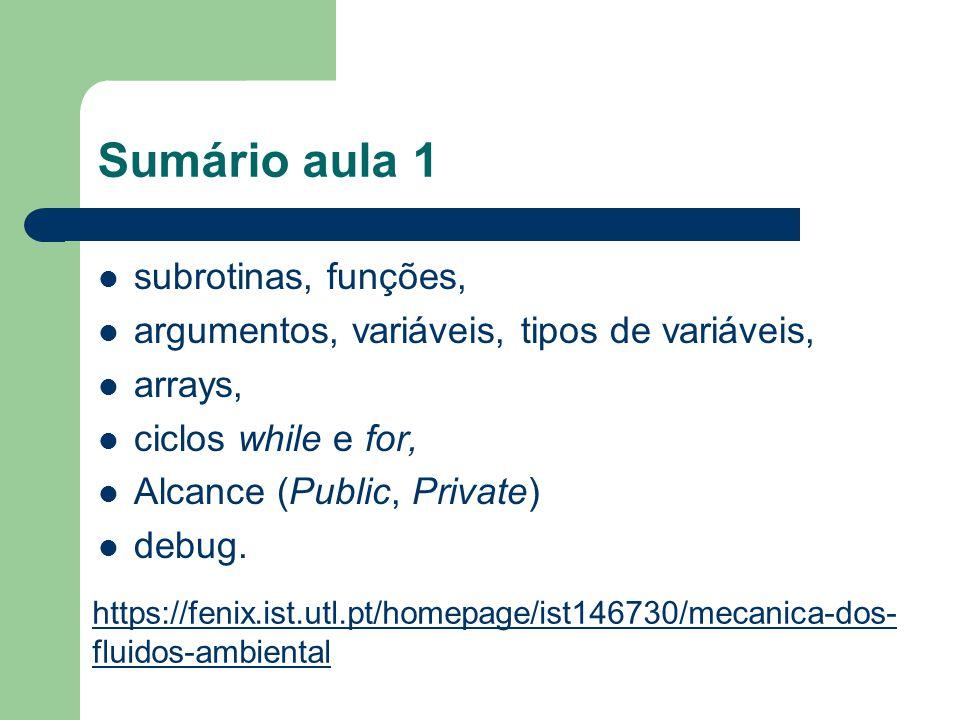 Sumário aula 1 subrotinas, funções,