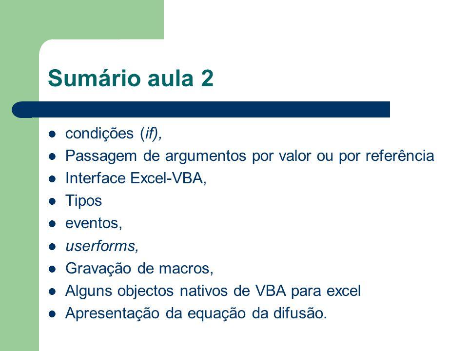 Sumário aula 2 condições (if),