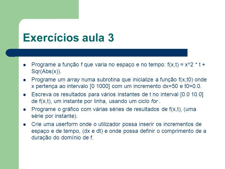 Exercícios aula 3 Programe a função f que varia no espaço e no tempo: f(x,t) = x^2 * t + Sqr(Abs(x)).