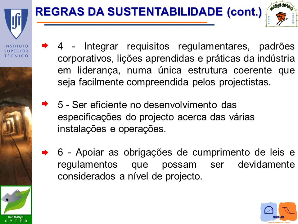 REGRAS DA SUSTENTABILIDADE (cont.)