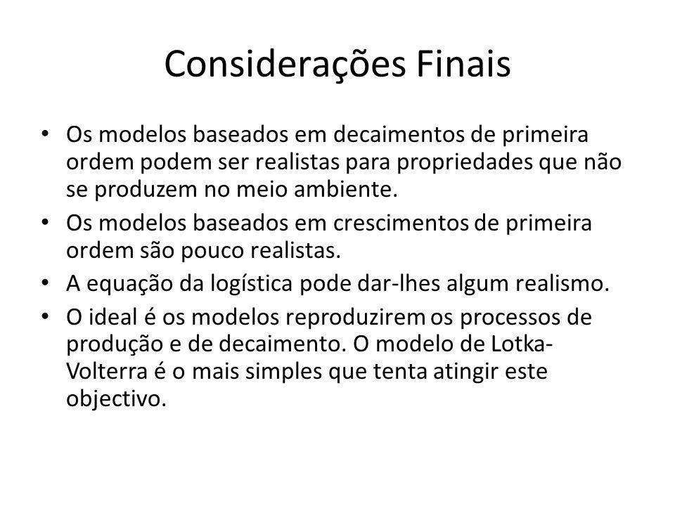 Considerações Finais Os modelos baseados em decaimentos de primeira ordem podem ser realistas para propriedades que não se produzem no meio ambiente.
