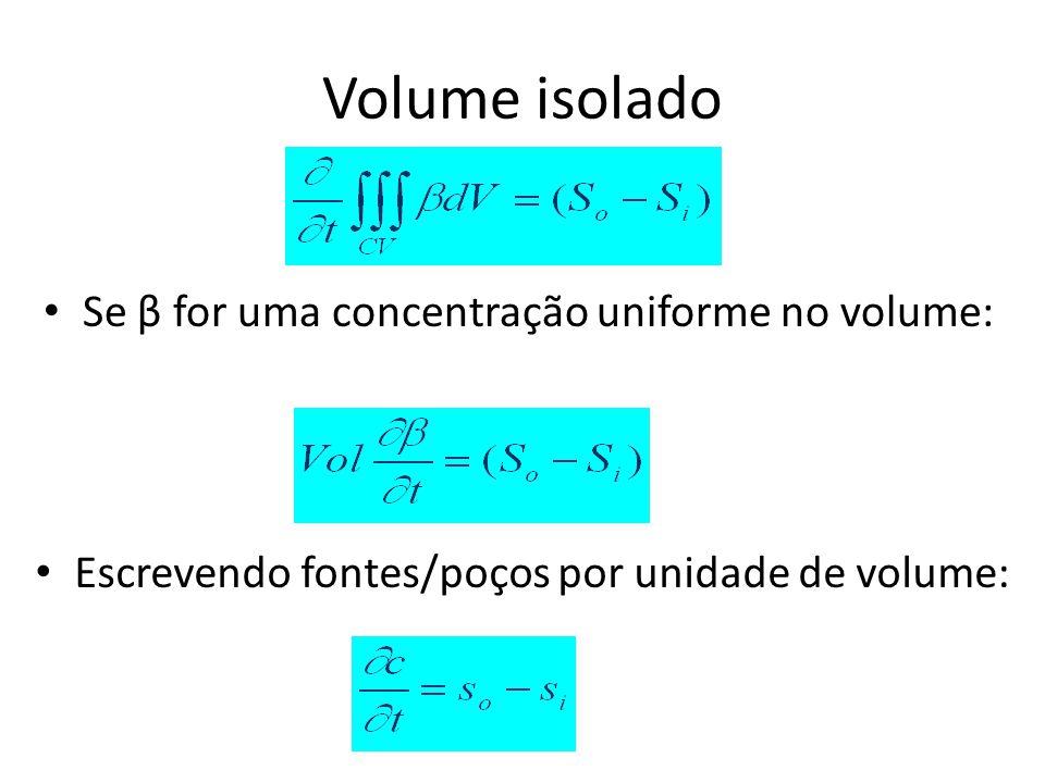 Volume isolado Se β for uma concentração uniforme no volume: