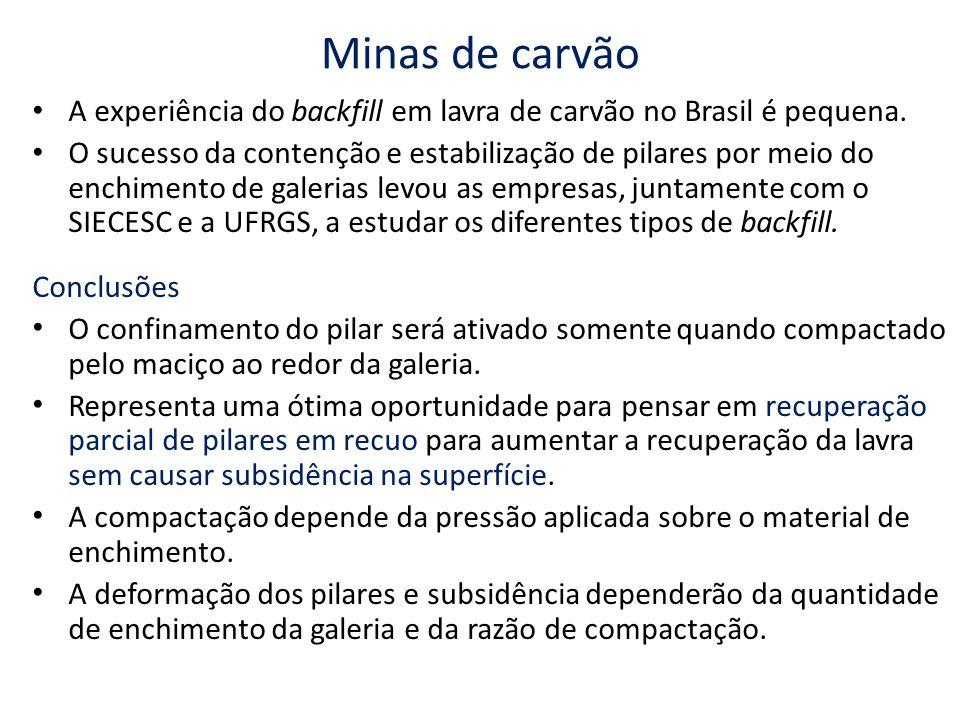 Minas de carvão A experiência do backfill em lavra de carvão no Brasil é pequena.