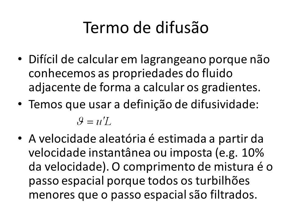 Termo de difusão Difícil de calcular em lagrangeano porque não conhecemos as propriedades do fluido adjacente de forma a calcular os gradientes.
