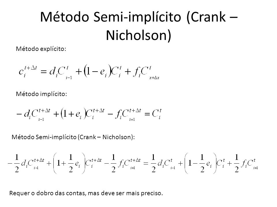 Método Semi-implícito (Crank – Nicholson)