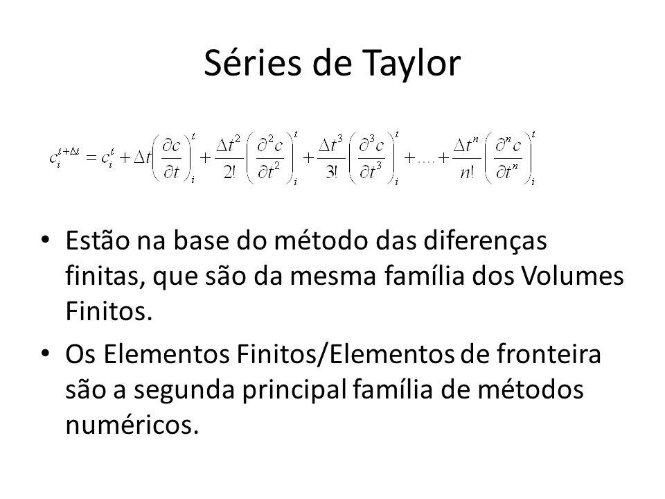 Séries de Taylor Estão na base do método das diferenças finitas, que são da mesma família dos Volumes Finitos.