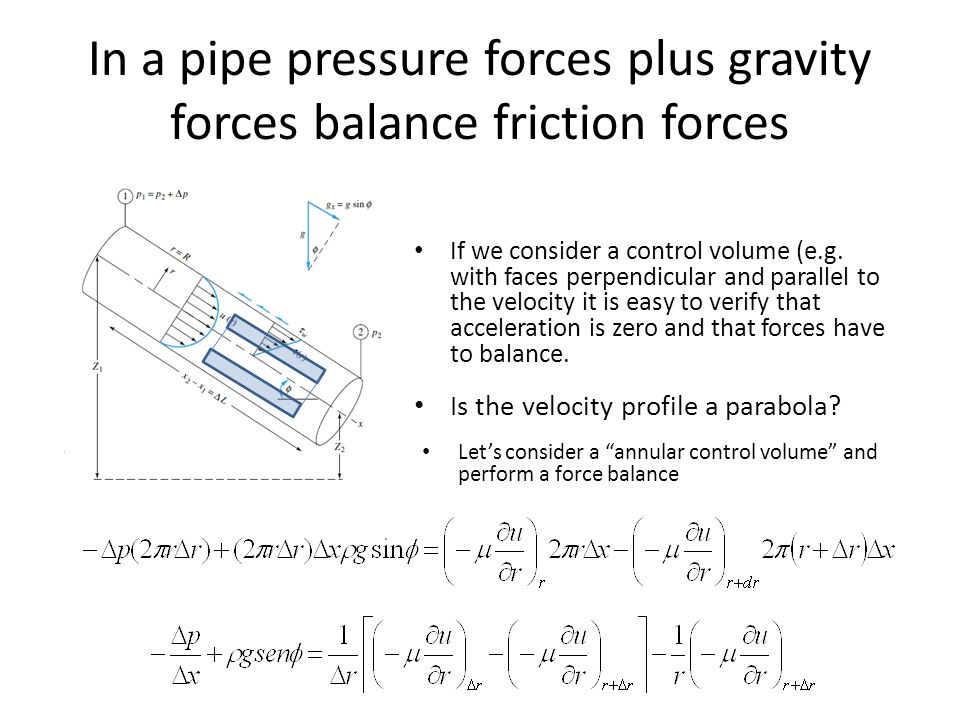 In a pipe pressure forces plus gravity forces balance friction forces
