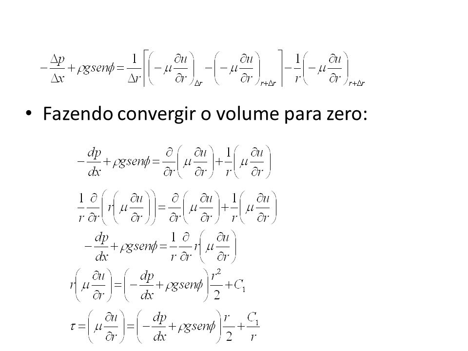 Fazendo convergir o volume para zero: