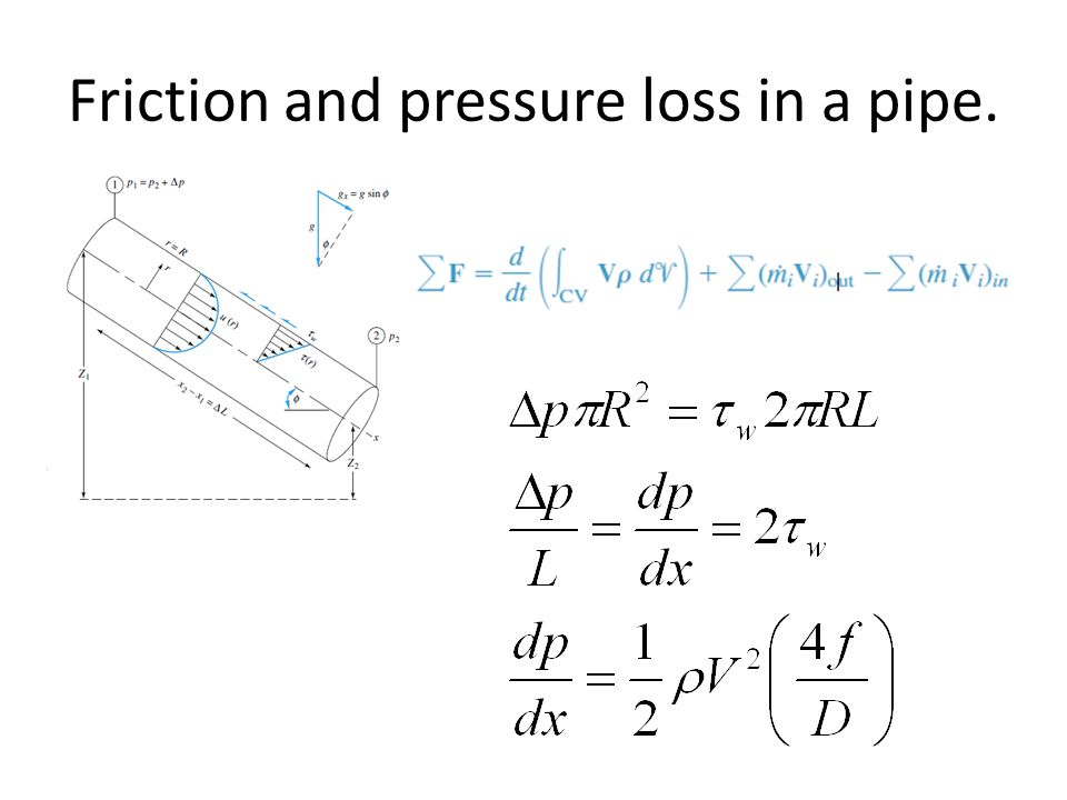 Friction and pressure loss in a pipe.