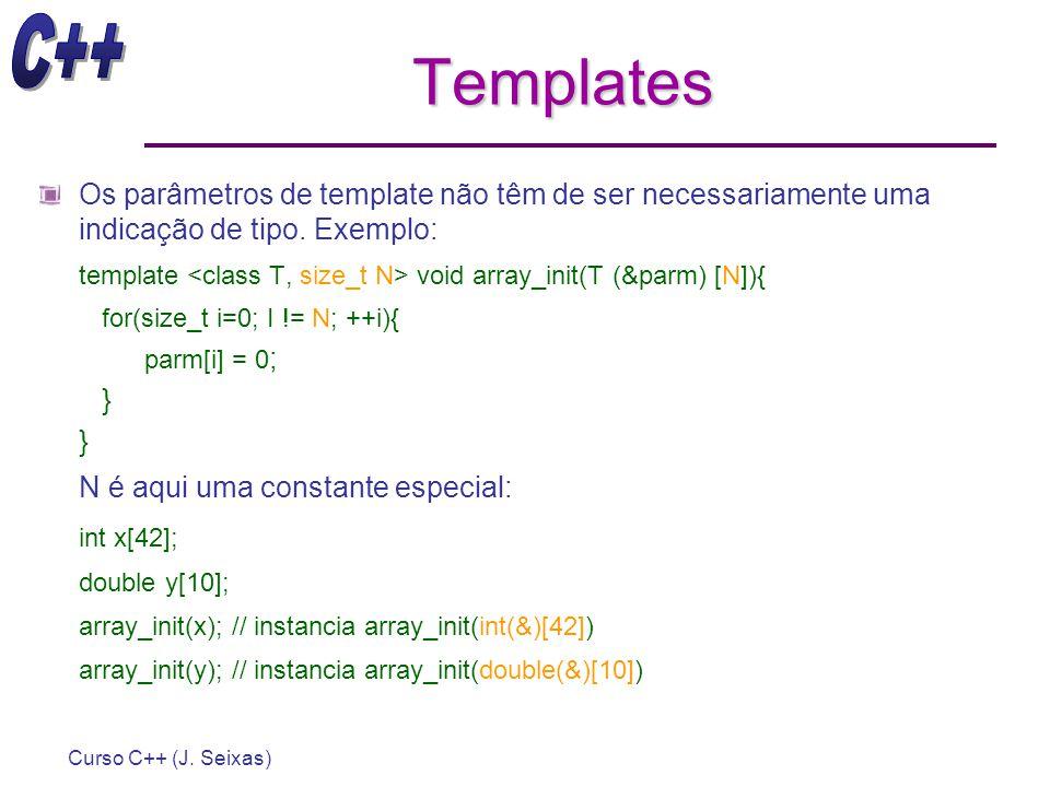 Templates Os parâmetros de template não têm de ser necessariamente uma indicação de tipo. Exemplo: